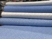 Çıtır Desenli  Mavi Poplin Kumaş