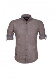 Cosplay Pamuk Yıkamalı Gri Çizgili Katlamalı Kollu Slim Fit Gömlek