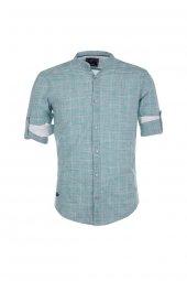 Cosplay Pamuk Yıkamalı Filamlı Yeşil Katlamalı Kollu Slim Fit Gömlek