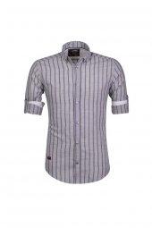 Cosplay Pamuk Yıkamalı Bej Çizgili Katlamalı Kollu Slim Fit Gömlek
