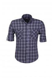 Cosplay Pamuk Yıkamalı Kışlık Flanel Cepli Ekose Katlamalı Kollu Slim Fit Gömlek