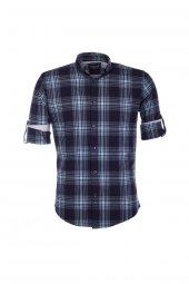 Cosplay Pamuk Yıkamalı Çizgili Katlamalı Kollu Slim Fit Gömlek