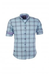 Cosplay Pamuk Yıkamalı Likra Ekose Katlamalı Kollu Slim Fit Gömlek