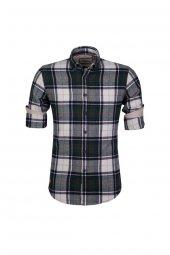 Cosplay Yıkamalı Kışlık Oduncu Damalı Katlama Kollu Slim Fit Gömlek
