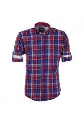 Cosplay Yıkamalı Çok Renkli Ekose Katlama Kollu Slim Fit Gömlek