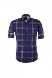 Cosplay Yıkamalı Ekose Katlama Kollu Slim Fit Gömlek