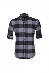 Cosplay Kışlık Kaşmir Ekoseli Kışlık Kaşmir Yıkamalı Katlamalı Kol Slim Fit Gömlek