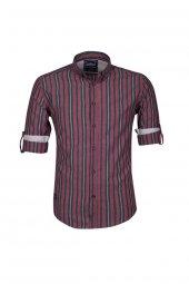 Cosplay Geniş Çizgili Katlamalı Kol Slim Fit Gömlek
