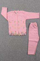 Çiçek İşlemeli Pijama Kız Bebek Takımı (Pembe)
