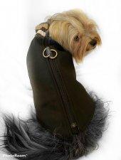 Chamois Siyah Kaban Mont, Köpekler için Güderi Görünümlü Ceket