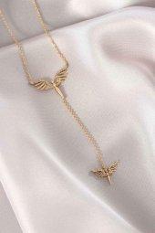 Mikail Meleği Tasarım Gold Zincir Kadın Kolye