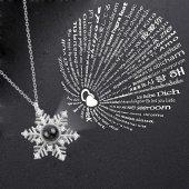 Yüz Dilde Seni Seviyorum Kar Tanesi Model Gümüş Kolye