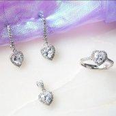 Kalp Tektaş Kadın Gümüş Set
