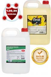 Ebruli Limon Kolonyası  Bidon 5 Lt 80 Derece & Dezentech Alkol Bazlı El Temizleme Sıvısı(Dezenfektan) 5 Lt
