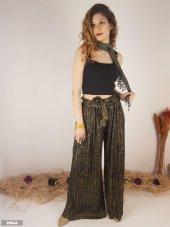 Kadın Yılan Desen Piliseli Pantolon Etek Kemer Detaylı Örme Kumaş 10543