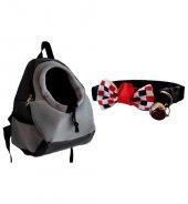 Anakucağı (kanguru) Taşıma Çantası - Gri &Kırmızı Damalı Siyah K