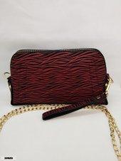 Kadın Kırmızı Siyah Zebra Desen Suni Deri Çanta 10920