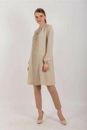 Kadın Taş Rengi Pileli Uzun Tunik Taş Renk 10550