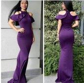 Kadın Mor Atlas Kumaş Omuz Dekolteli Abiye Elbise 10256