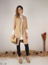Kadın Aerobin Kumaş Uzun Ceket ve Beyaz Uzun Kol Bluz 10574
