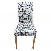 Sandalye Kılıfı Kadife Geoid 6 Adet