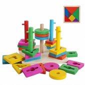 Ahşap Geometri Vidalama Oyuncağı + Tangram - Bul Tak Ahşap Gelişim Oyuncağı - Eğitici Ahşap Oyuncak