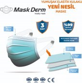 Maskderm Yumuşak Elastik Kulaklı Cerrahi Maske 200 Adet - Mavi