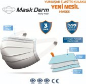 Maskderm Yumuşak Elastik Kulaklı Cerrahi Maske 250 Adet - Beyaz