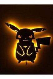 Pikachu Ledli Ahşap Tablo
