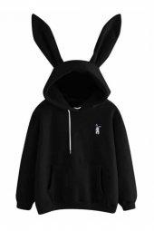 Tavşan Kulaklı Siyah Sweatshirt