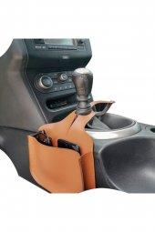 Araç Araba Içi Gözlük Telefon Tutucu Deri Aksesuar Çanta Vites Çantası Kahverengi
