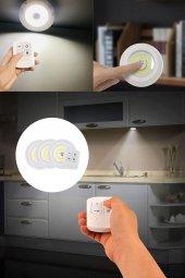 Uzaktan Kumandalı Yapışkanlı Kablosuz Pilli LED 3lü Spot Lamba