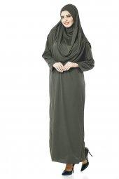 Haki Tek Parça Kadın Namaz Elbise