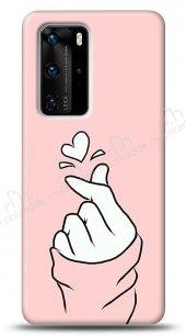 Huawei P40 Pink Finger Heart Kılıf