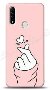 Oppo A31 Pink Finger Heart Kılıf