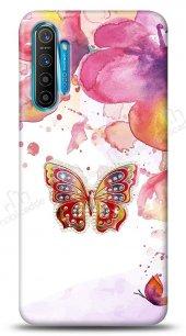 Realme XT Colorful Butterfly Taşlı Kılıf