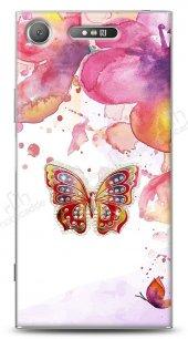 Sony Xperia XZ1 Colorful Butterfly Taşlı Kılıf