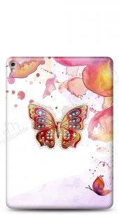 iPad Pro 12.9 2017 Colorful Butterfly Taşlı Kılıf