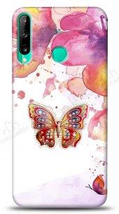 Huawei P40 Lite E Colorful Butterfly Taşlı Kılıf