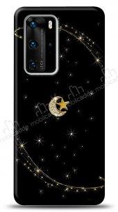 Huawei P40 Pro Ay Yıldız Gökyüzü Taşlı Kılıf