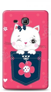 Samsung Galaxy A 7.0 2016 Pink Cat Kılıf
