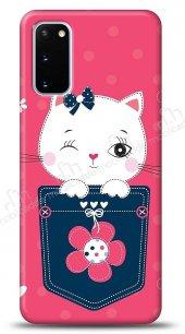 Samsung Galaxy S20 Pink Cat Kılıf