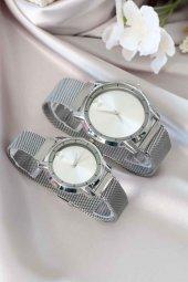 Gümüş Renk Hasır Metal Mıknatıs Kordonlu Sevgili Saatleri