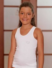 Trair Geniş Askılı Ribana Çocuk Atlet Beyaz MKC093