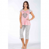Bermuda Pijama Takım Pembe (XL)