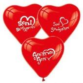 Seni Seviyorum Baskılı Kalp Balon 12 inch 10 Adet