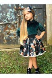 Kız Çocuk Yeşil Kadife Takım