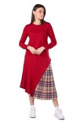 Pilise Detaylı Asimetrik Kadın Sweat Elbise
