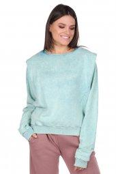 Vatkalı Batik Yeşil Kadın Sweatshirt