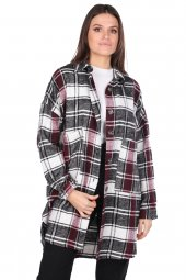 Simli Oversize Ekose Kadın Ceket